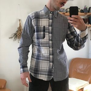 "Brooks brothers ""black fleece"" patchwork shirt"